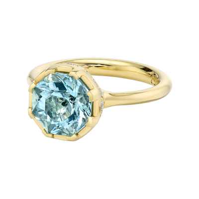 Sacred Shade Ring featuring a Precision-Cut Aquamarine with Diamond Pave