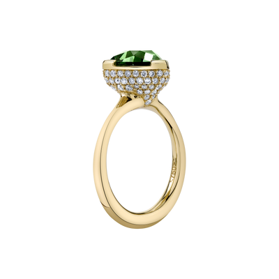 Color's Crown Ring featuring a Precision-Cut Green Tourmaline with Diamond Pave