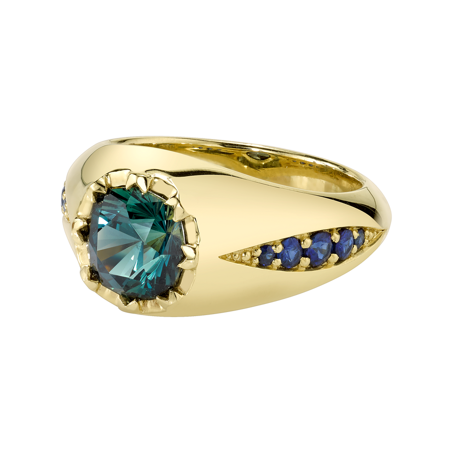 Celestial Shift Ring featuring a Precision-Cut African Sapphire with Blue Sapphires