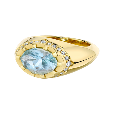 Primary Contrast Ring featuring a Precision-Cut Aquamarine with Diamond Pave