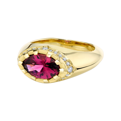 Primary Contrast Ring featuring a Precision-Cut Purple Garnet with Diamond Pave