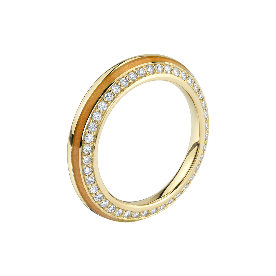 Sima Ring with Cognac Enamel and Diamond Pave