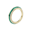 Sima Ring with Green Enamel and Diamond Pave