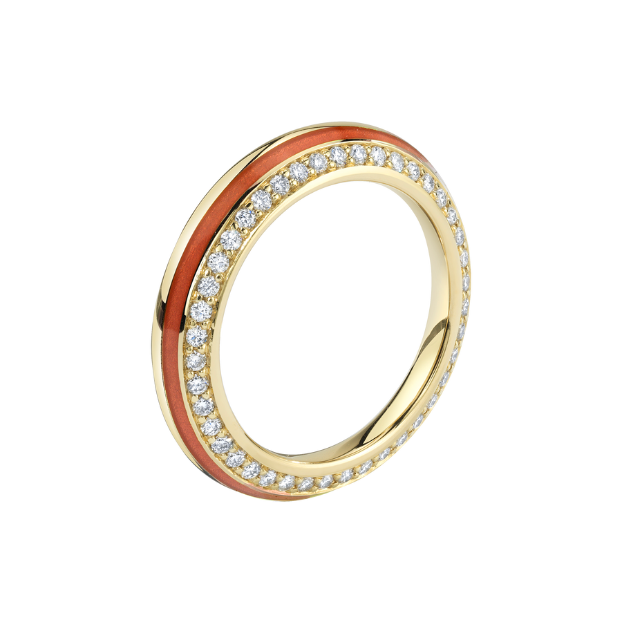 Sima Ring with Red Enamel and Diamond Pave