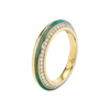 Sima Ring with Amazonite Inlay and Diamond Pave