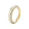 Sima Ring with Cacholong Inlay and Diamond Pave