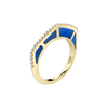 Cobra Ring with Blue Enamel and Diamond Pave