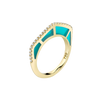 Cobra Ring with Light Blue Enamel and Diamond Pave