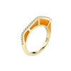 Cobra Ring with Orange Enamel and Diamond Pave