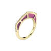 Cobra Ring with Purple Enamel and Diamond Pave