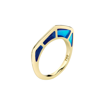 Cobra Ring with Blue Enamel