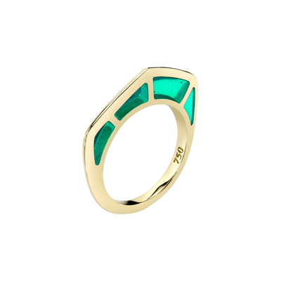 Cobra Ring with Green Enamel