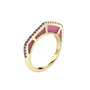 Cobra Ring with Purple Enamel and Sapphire