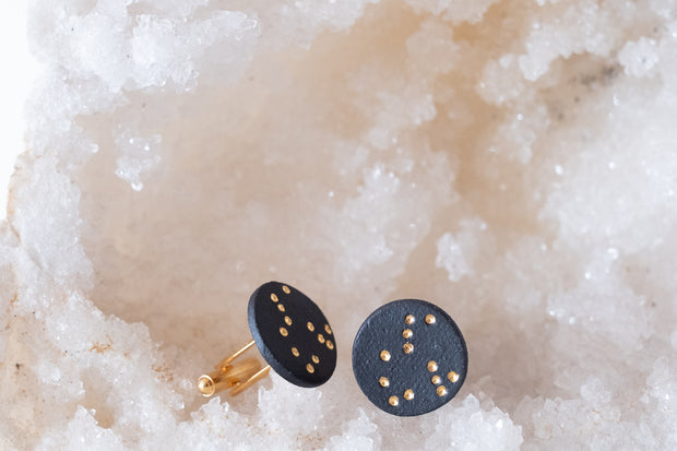 Black Porcelain and 18k Gold Cufflinks- Perseus