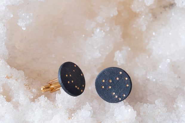 Black Porcelain and 18k Gold Cufflinks- Pegasus
