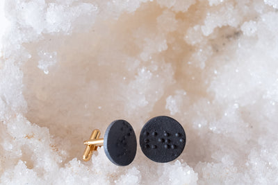 "Black Porcelain Cufflinks- Braille ""Love"""
