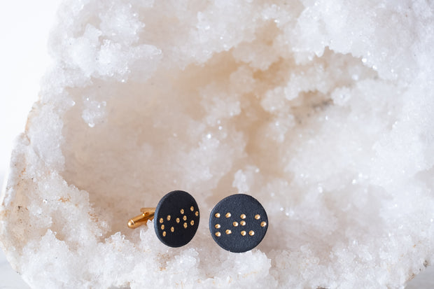 "Black Porcelain and 18k Gold Cufflinks- Braille ""Love"""