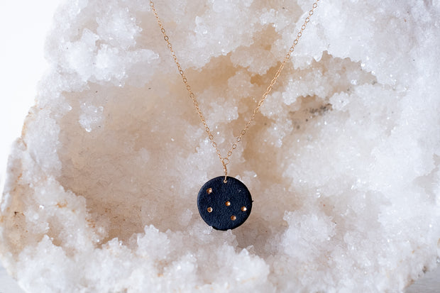 Black Porcelain and 18k Gold Necklace- Cassiopeia