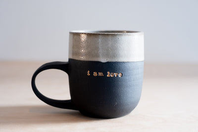 I Am Love 18k Gold Black Porcelain Mug