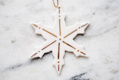 18k gold large snowflake ornament