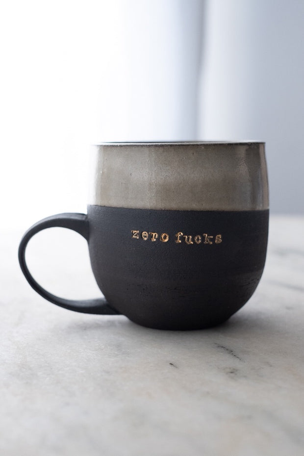 Zero Fucks 18k Gold Black Porcelain Mug