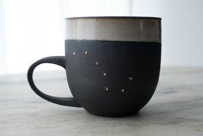 Big Dipper 18K Gold Black Porcelain Mug