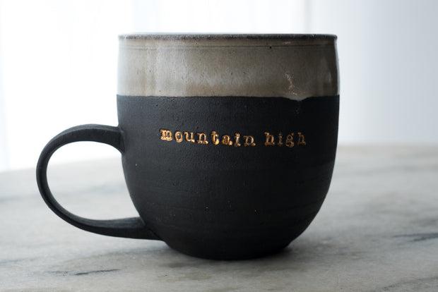 Mountain High 18k Gold Black Porcelain Mug