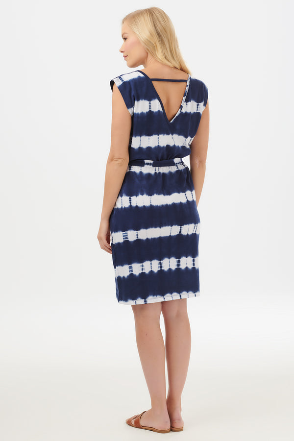 Hetty Tie Dye Marine Stripe Dress