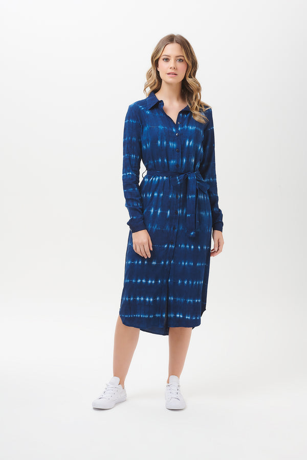 Reva Nautical Tie Dye Shirt Dress