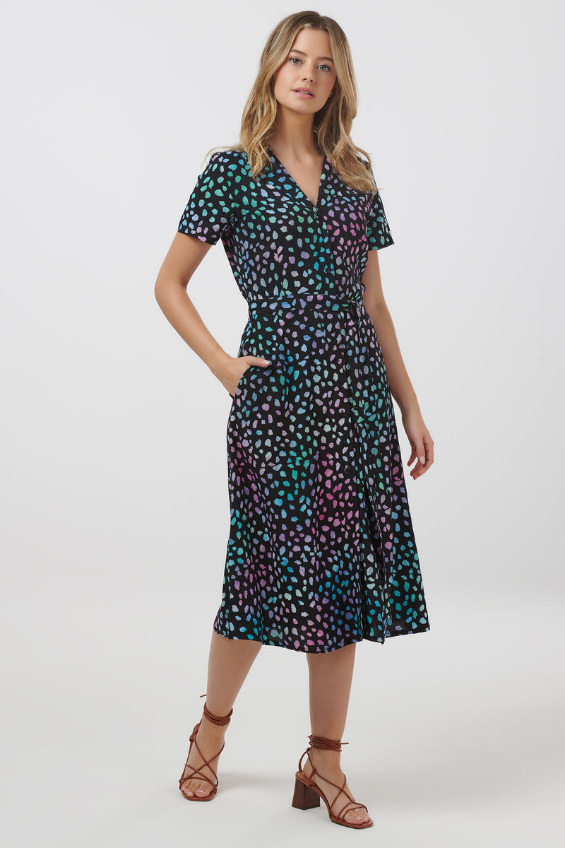 Kendra Painterly Dot Batik Shirt Dress #WearAndCare