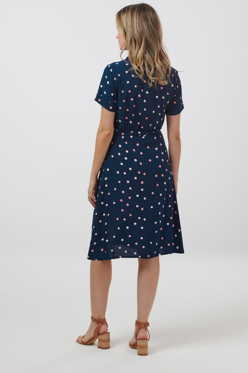 Abby Polka Batik Shirt Dress