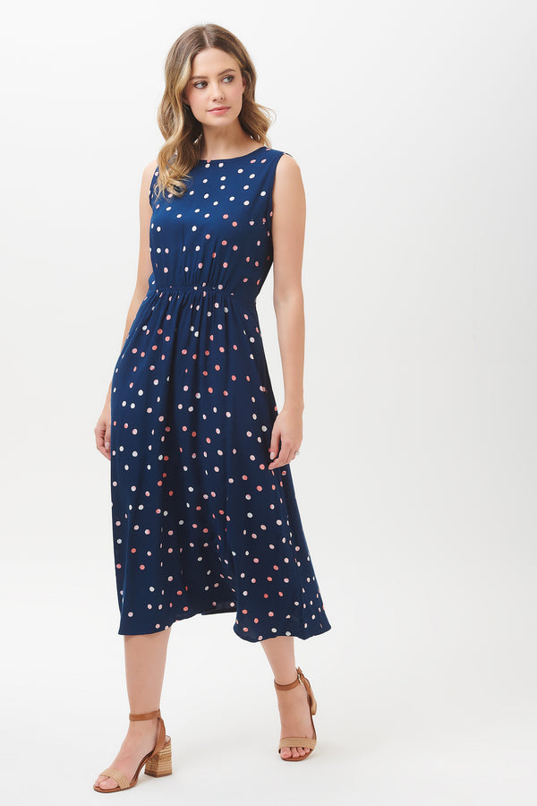 Gloria Polka Batik Tie Back Dress