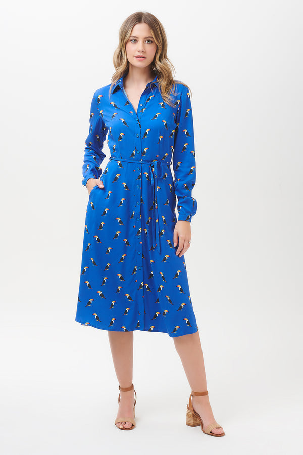 Elspeth Rainbow Toucan Midi Shirt Dress