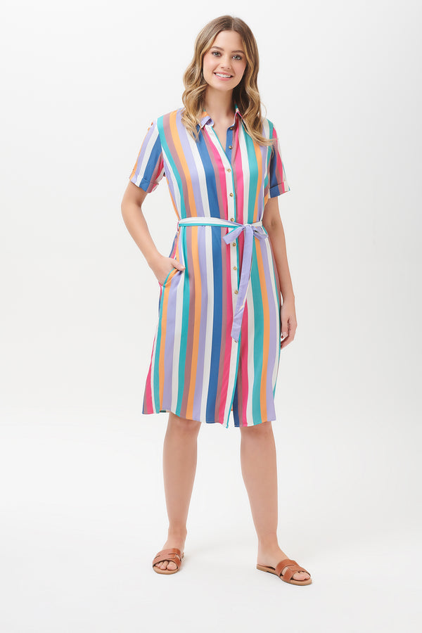 Justine Cruise Stripe Shirt Dress