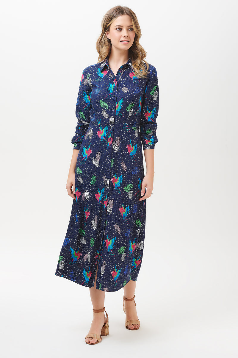 Clarissa Paradise Parrot Shirt Dress