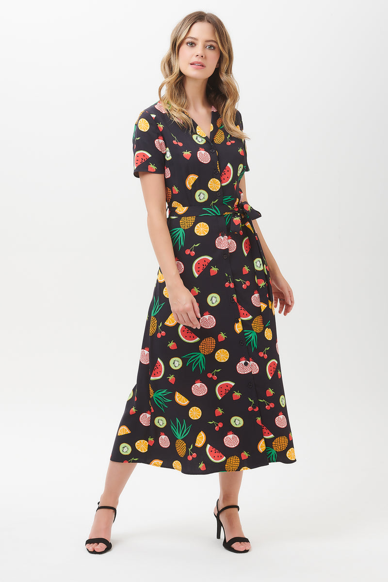 Nettie Fruit Punch Shirt Midi Dress