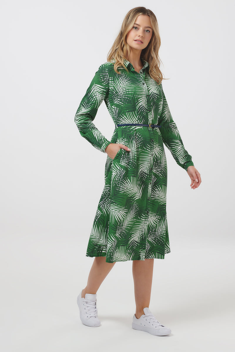 Elspeth Shady Palm Midi Shirt Dress