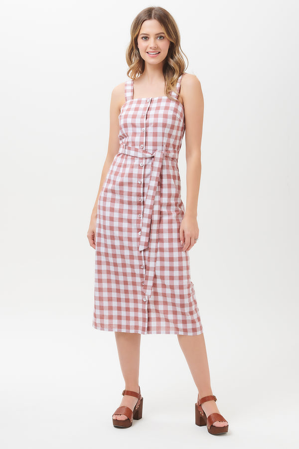 Nanette Rust Gingham Button Down Midi Dress