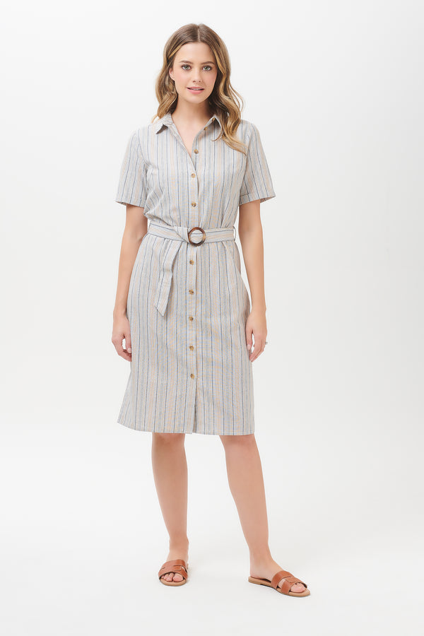 Giana Earth Stripe Shirt Dress
