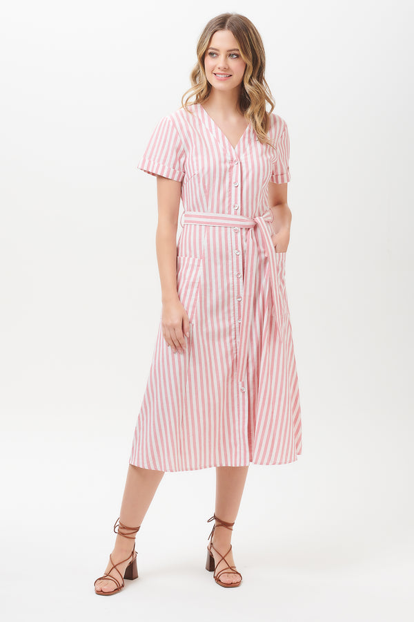 Evelina Deck Stripe Midi Dress