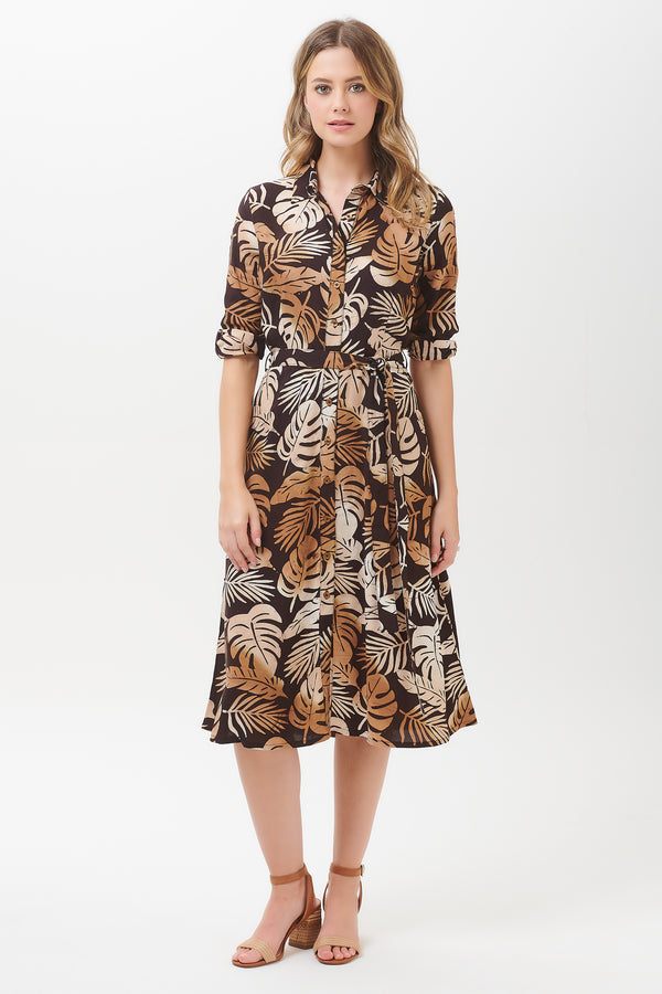 Merissa Cocoa Palm Batik Midi Dress
