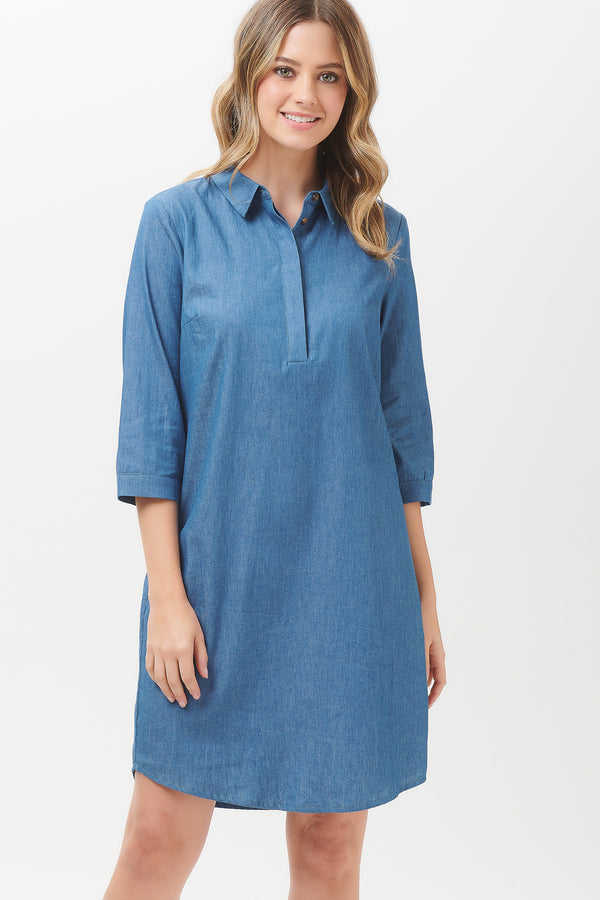 Shelby Chambray Mini Shirt Dress