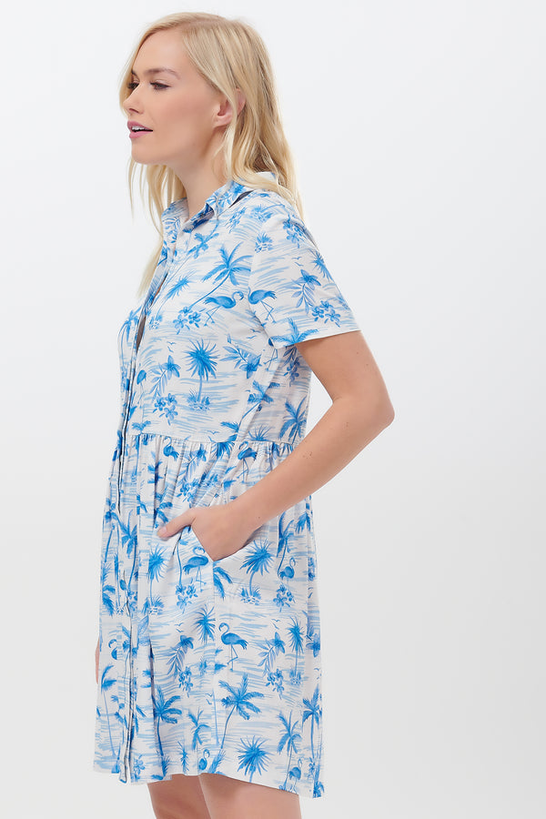 Keeley Hawaii Flamingo Shirt Dress