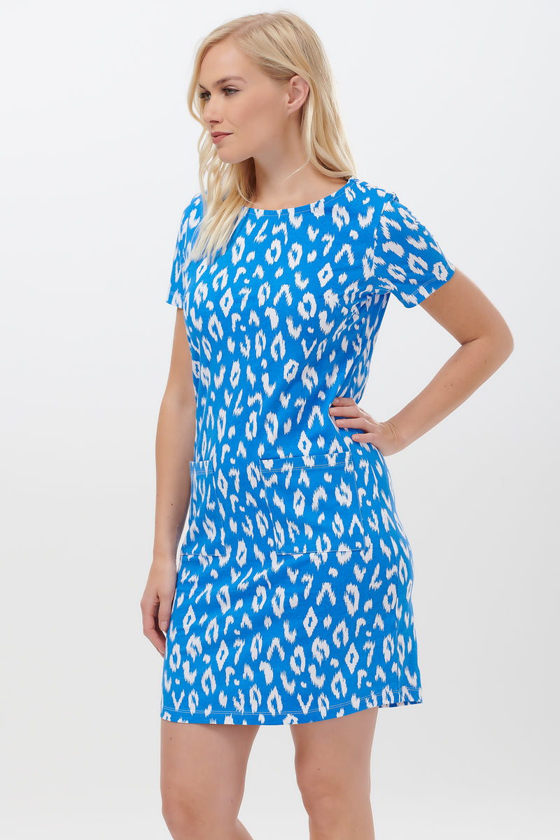 Ariane Ikat Leopard Jersey Dress #wearandcare