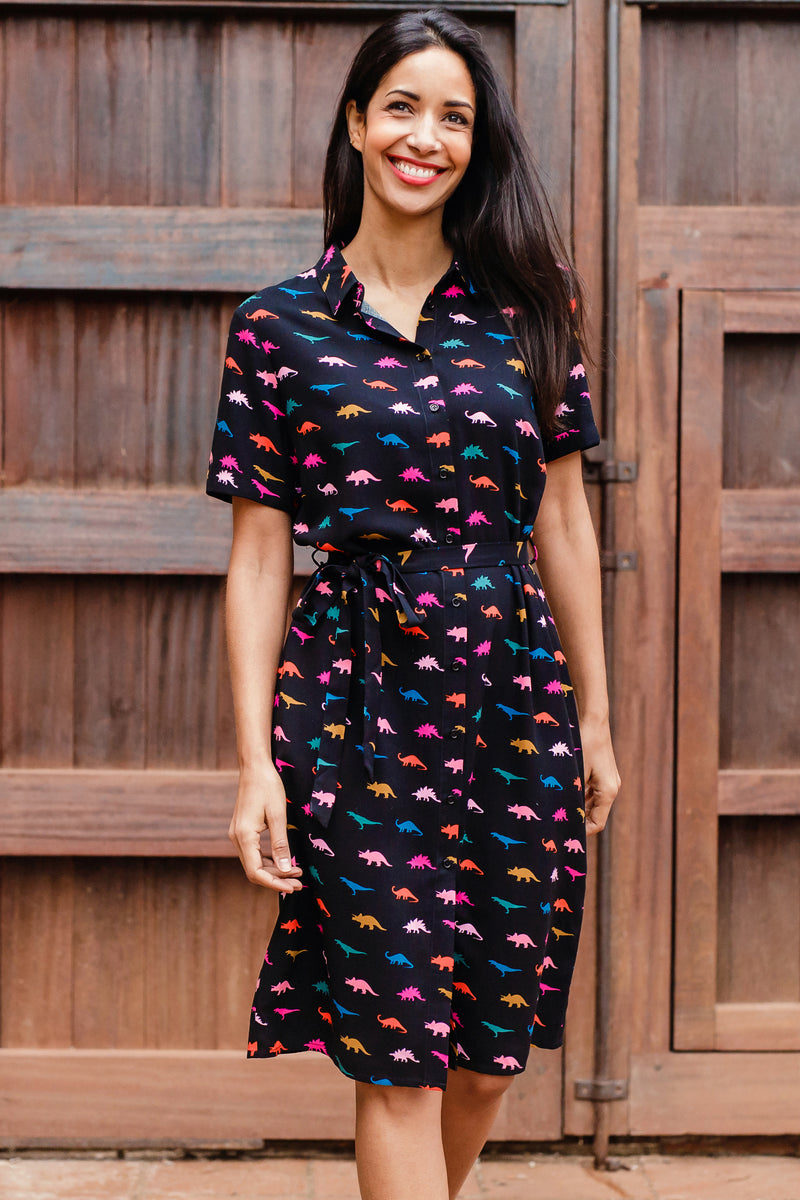 Justine Jurassic Jive Shirt Dress #WearAndCare