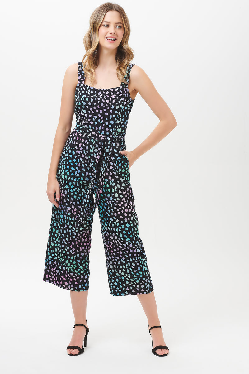 Millie Painterly Dot Batik Culotte Jumpsuit
