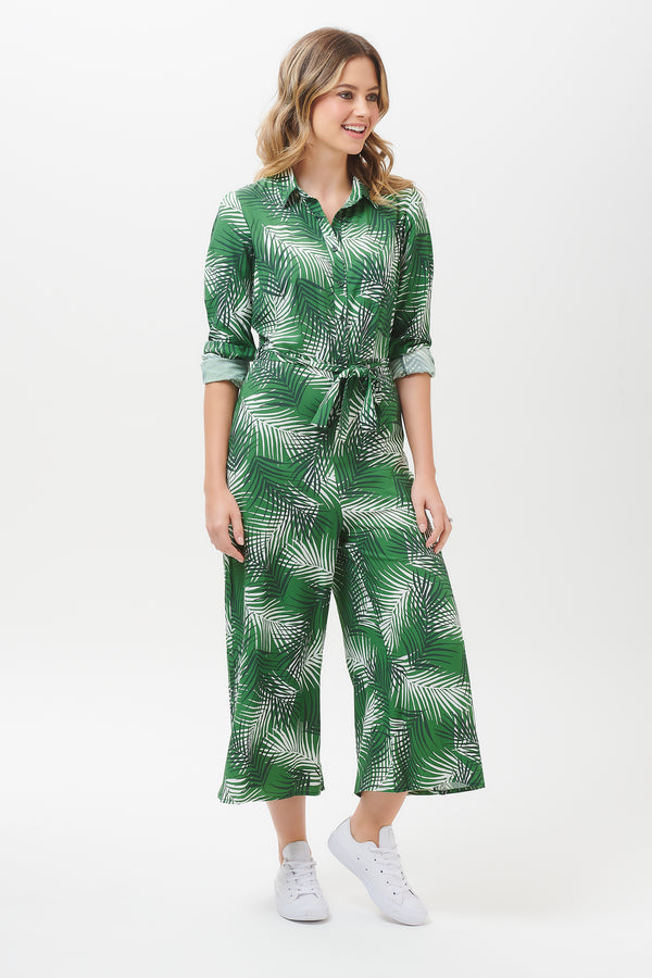 Sienna Shady Palm Wide Leg Jumpsuit
