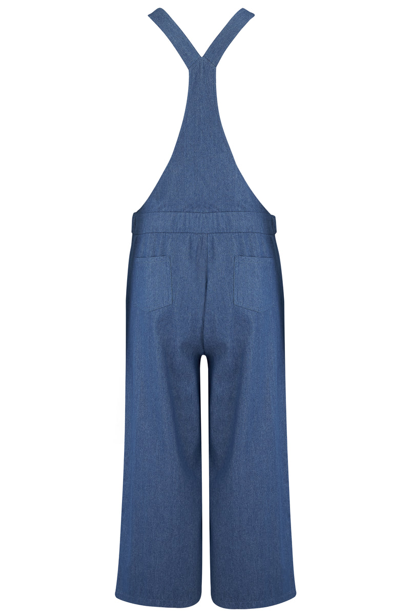 Ingrid Chambray Culotte Wide Leg Jumpsuit