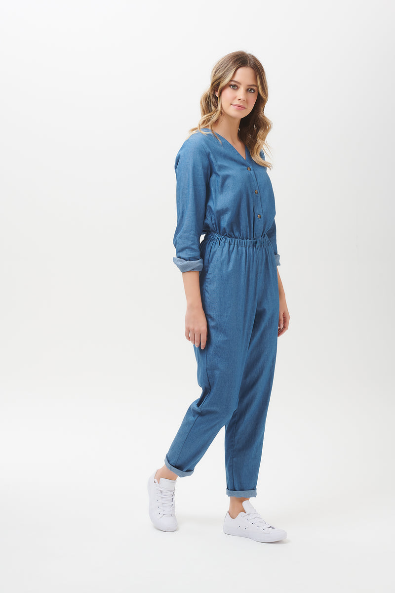 Coralie Chambray Denim Jumpsuit