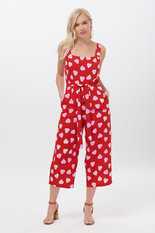 Millie Big Heart Batik Print Jumpsuit